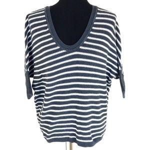 Express Women's Navy Blue White Striped Knit Short